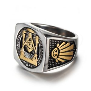 Vintage Masonic Ring, silver & gold