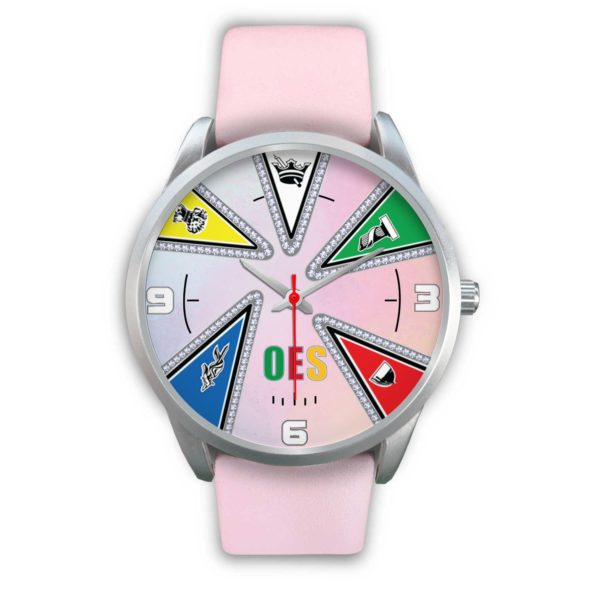 Oes Silver WristWatch, Pink leather strap
