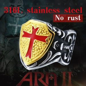 Stainless Steel Knights Templar Retro shield ring