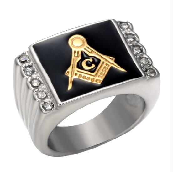Crystal Masonic Enamel G Logo ring, silver & gold