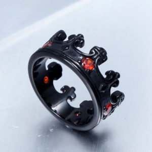 Knight Templar crown ring, black