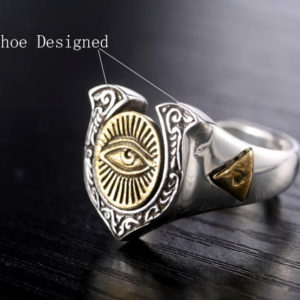 Ring Eye of Horus Luxury, gold & silver
