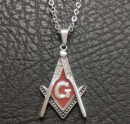Enamel Masonic Pendant Necklace, Red/ Silver