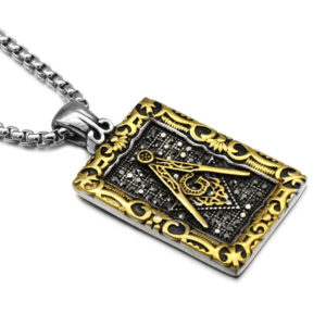 Vintage Men Freemason Mason Necklace, Gold
