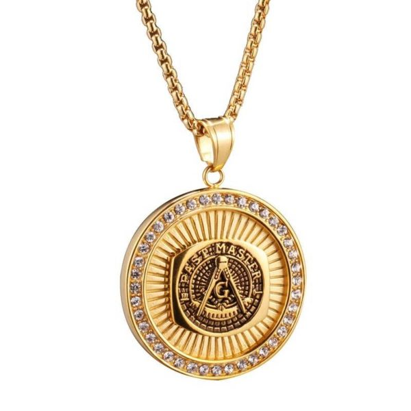 Iced Out Masonic Freemasonry Necklace