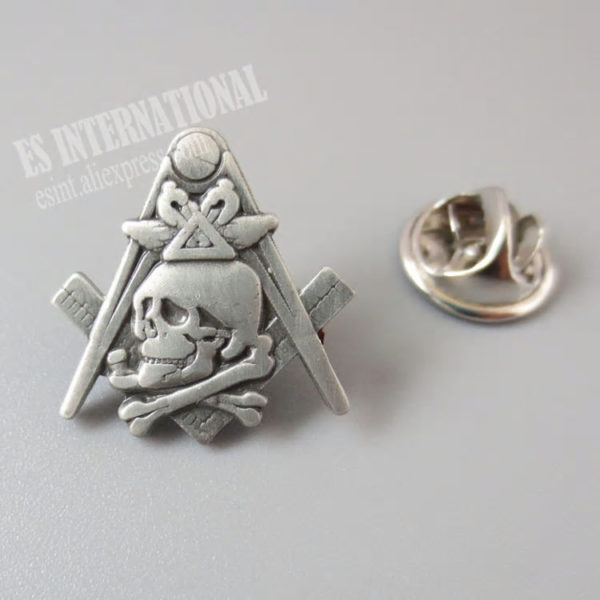 Freemason Widow's son antique silver pin